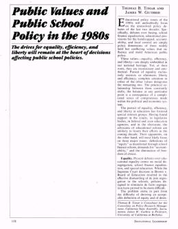 Public Values and Public School Policy in the 1980s