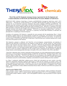 TheraVida and SK Chemicals Announce License Agreement for the