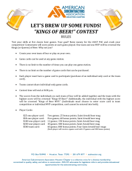 "LET`S BREW UP SOME FUNDS! ""KINGS OF BEER!"" CONTEST"
