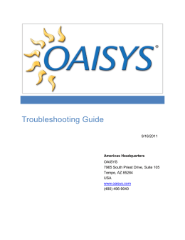 OAISYS Troubleshooting Guide