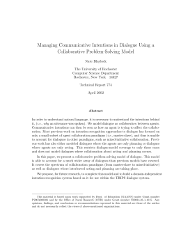 Managing Communicative Intentions in Dialogue Using a