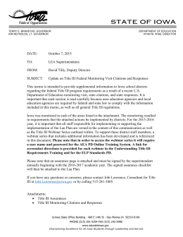 Memo Regarding Title III Federal Monitoring Citations and Responses