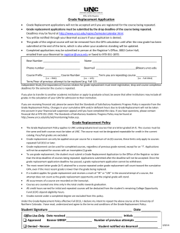 Grade Replacement Application - University of Northern Colorado