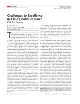 Challenges to Excellence in Child Health Research