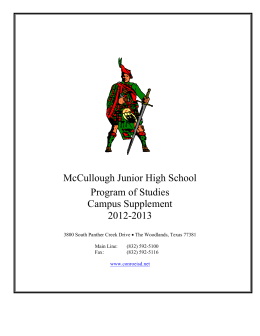 McCullough Junior High School Program of Studies Campus