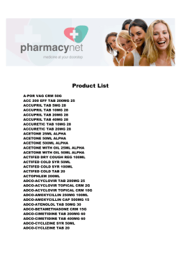 Product List - Pharmacynet