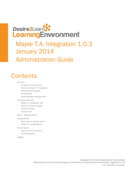 Maple T.A. Integration Administration Guide 1.0.3