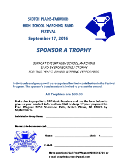 sponsor a trophy - Scotch Plains/Fanwood Music Boosters