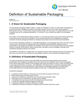 Definition of Sustainable Packaging