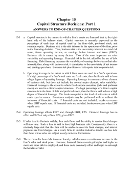 Chapter 15 Capital Structure Decisions: Part 1