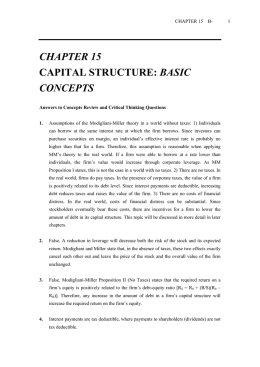 CHAPTER 15 CAPITAL STRUCTURE: BASIC CONCEPTS