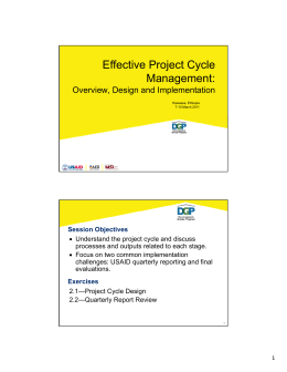 Effective Project Cycle Management