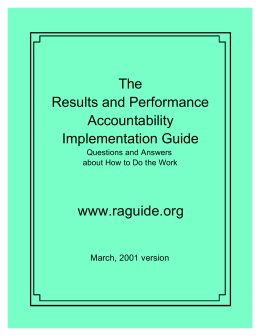 The Results and Performance Accountability Implementation Guide
