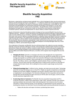 Blackfin Security Acquisition FAQ