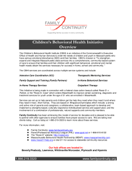 CBHI Overview - Family Continuity
