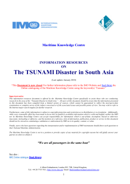 INFORMATION RESOURCES ON The TSUNAMI Disaster in South