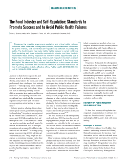 The Food Industry and Self-Regulation