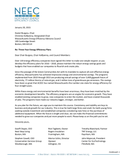From NEEC - Letter to Energy Efficiency Advisory Council
