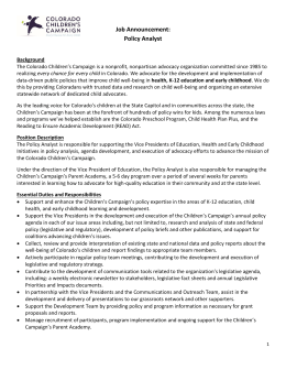 Policy Analyst - Colorado Children`s Campaign