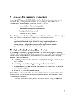 3 Guidance for Successful Evaluations