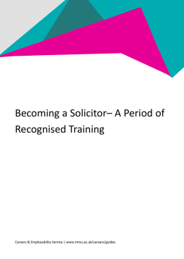 Becoming a Solicitor– A Period of Recognised Training