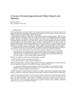 A Survey of Existing Approaches for Pattern Search and Selection
