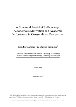 A Structural Model of Self-concept, Autonomous Motivation and