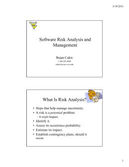 Software Risk Analysis and Software Risk Analysis