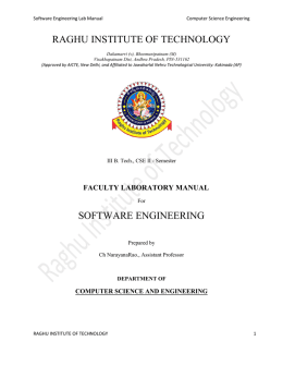 RAGHU INSTITUTE OF TECHNOLOGY SOFTWARE ENGINEERING