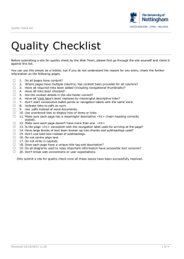 QualityChecklist - University of Nottingham