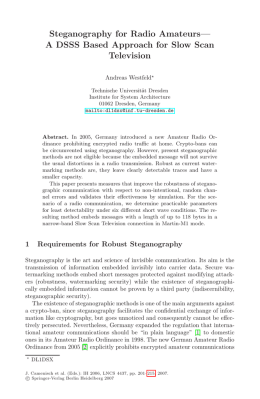 Steganography for Radio Amateurs— A DSSS Based Approach for