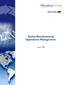 Global Manufacturing Operations Management