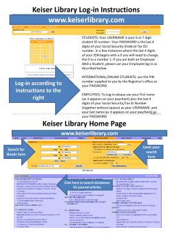 www.keiserlibrary.com Keiser Library Home Page Keiser Library