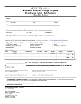 Baltimore Student Exchange Program Registration Form – Fall
