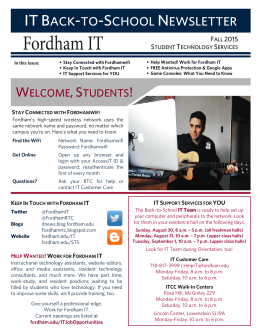 WELCOME,STUDENTS! - Fordham University