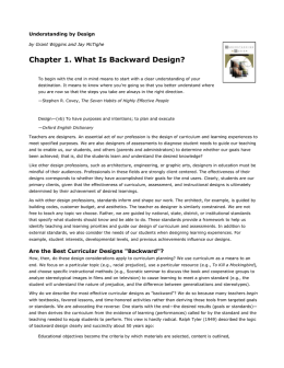 Chapter 1. What Is Backward Design?