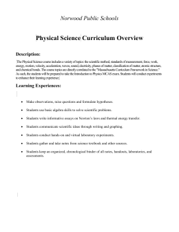Physical Science Curriculum Overview