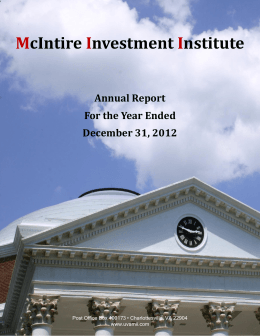 McIntire Investment Institute Annual Report For the Year Ended