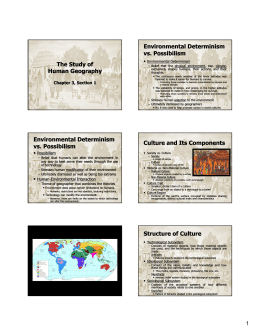 The Study of Human Geography Environmental Determinism vs