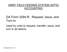 DA Form 3294-R: Request, Issue, and Turn-in