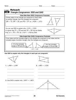 4-4 Reteach Triangle Congruence: SSS and SAS