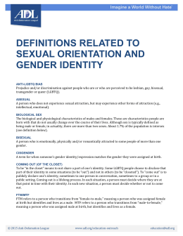 Definitions Related to Sexual Orientation and Gender Identity