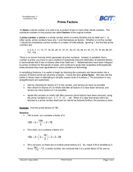 Prime Factors - BCIT Commons