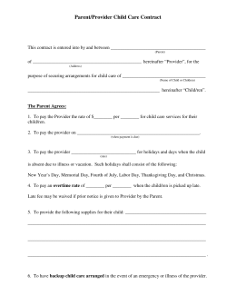 Parent/Provider Child Care Contract