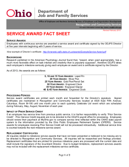 service award fact sheet - Ohio Department of Job and Family Services