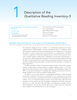 Description of the Qualitative Reading Inventory-5