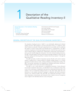 Description of the Qualitative Reading Inventory
