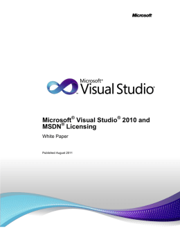 Visual Studio 2010 and MSDN Licensing