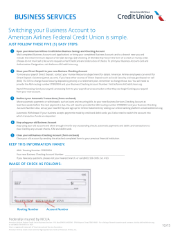Business Account Switch Kit - American Airlines Credit Union