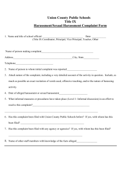 Sexual Harrassment Complaint Info